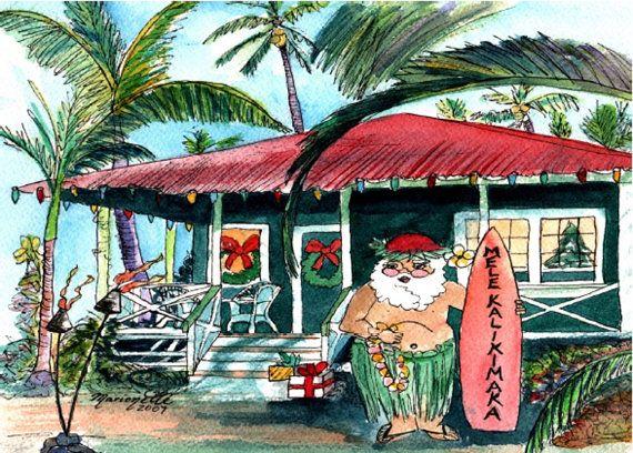 Printable DIY Hawaiian Christmas Card 5x7 Pdf From Kauai