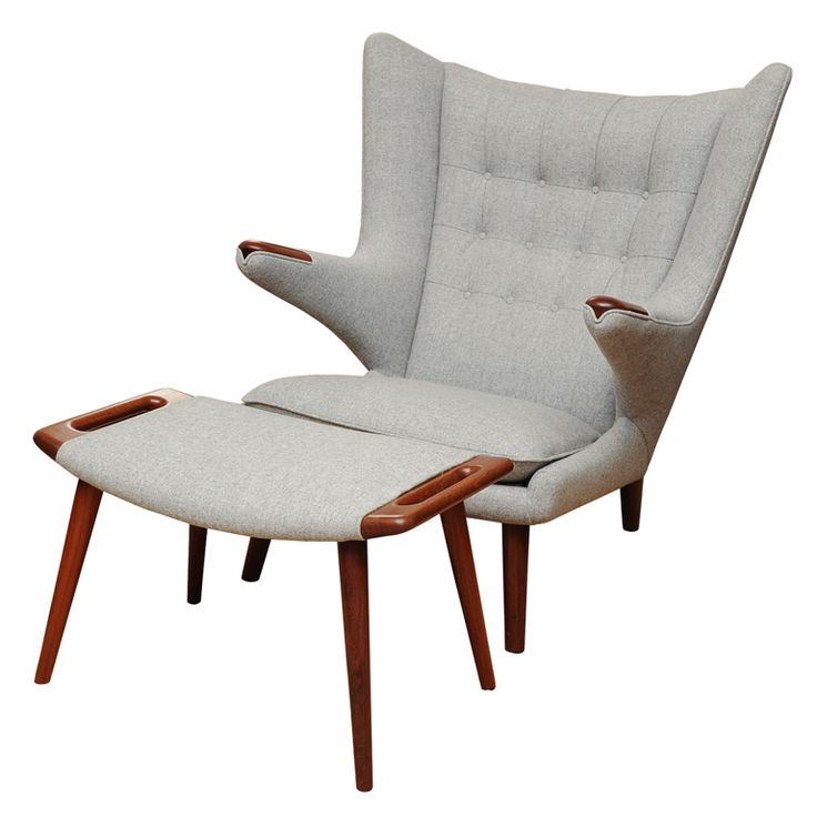 Hans Wegner Papa Bear Chair and Ottoman  From a unique