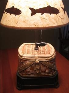 lodge style table lamps   Creel Basket Table Lamp Rustic Lake Cabin Hunt Lodge Decor