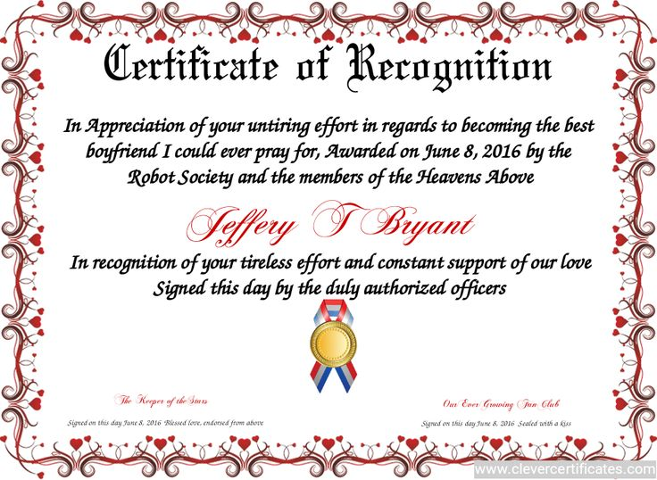 sample certificate of recognition wording