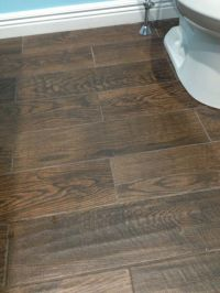 Porcelain wood look tile in upstairs bathroom. Home Depot ...