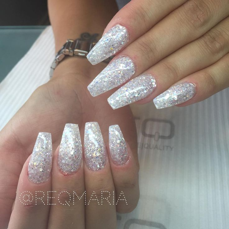 17 Best ideas about White Glitter Nails on Pinterest