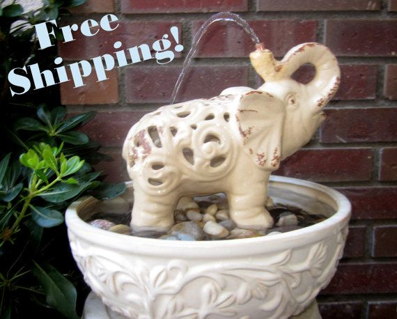 Elephants Shower Water Fountain Indoor and Outdoor Water