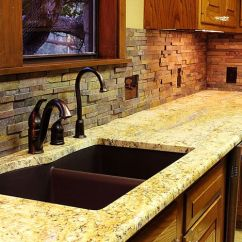 Rustic Kitchen Island Light Fixtures Aide Stand Mixer Stacked Stone Backsplash For Kitchens   Texas - Custom ...