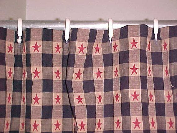 Navy Blue Old Glory Homespun Shower Curtain Rustic Americana Country Primitive Shower Curtains