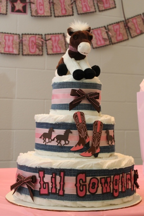 Next persons that has a baby girl… Cowgirl Baby Shower – Diaper Cake