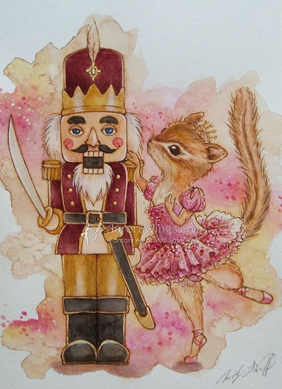 Original Art The Nutcracker With Chipmunk Ballerina