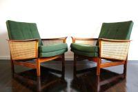 Fler Mid Century armchairs chairs teak rattan cane Retro ...
