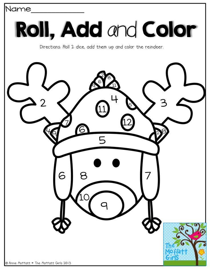 Roll 2 DICE….Add them up and COLOR! What a fun and