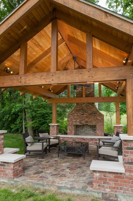 Pavilion With Fireplace And Gabled Ceiling Backyard