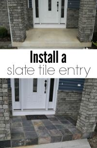 Slate Tile Porch | Front stoop, Front porches and Big box ...