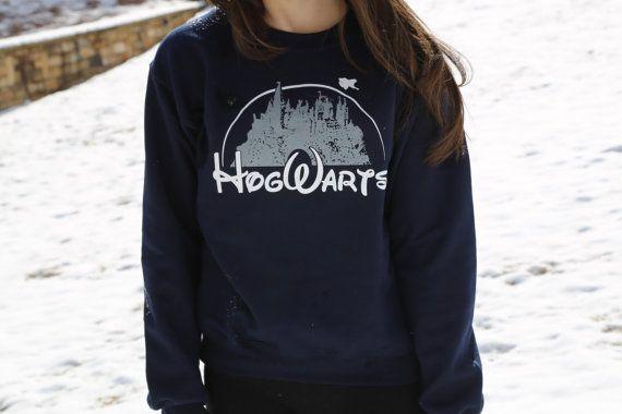 Harry Potter Clothing Hogwarts Castle Blue Crewneck Sweatshirt on Etsy, $30.00