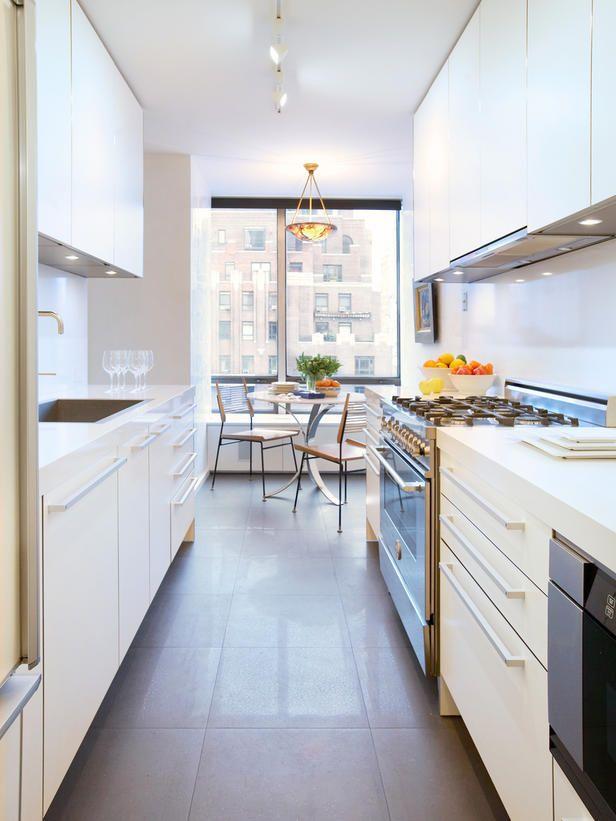 White Galley Kitchen Designs