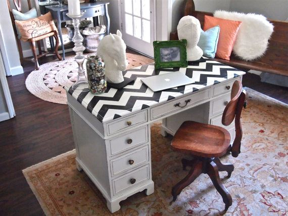 Black and White Chevron Painted Desk
