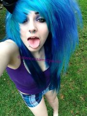 scene girl with blue and purple