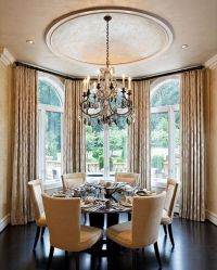elegant Transitional dining room with ceiling dome; dining ...