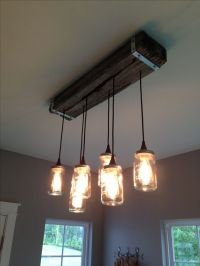 Mason jar and reclaimed wood light fixture. | My Creations ...