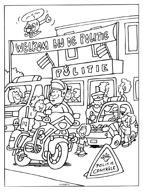 Kleurplaat Welkom bij de politie ( open dag
