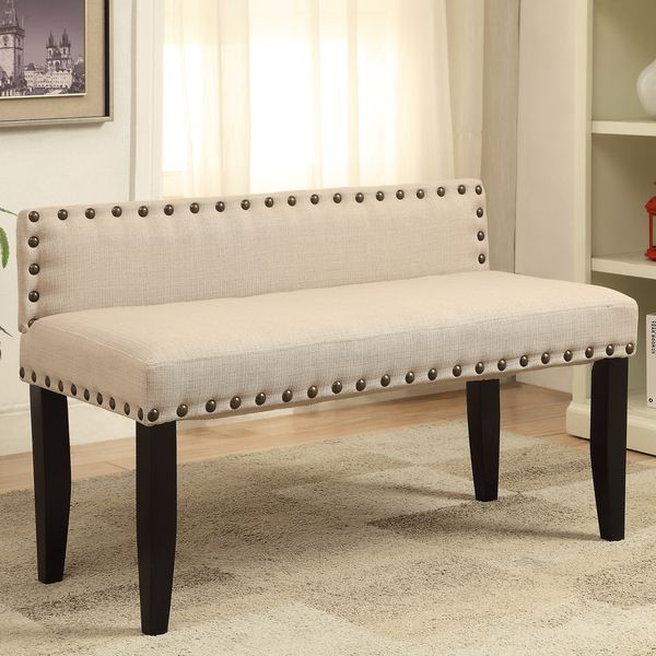 Furniture of America Simone Flax Upholstered 42inch