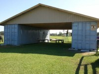 Cargo container barn trusses