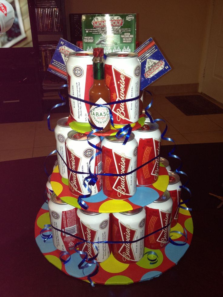 Beer Tower Cake Great Gift Filled With Goodies Made