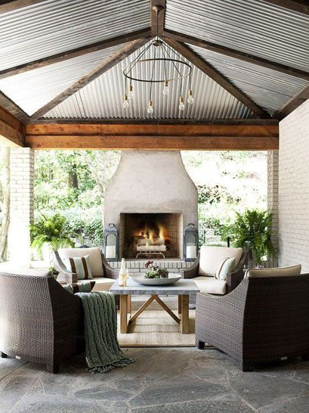 outdoor living space with fireplace 25+ best ideas about Outdoor living spaces on Pinterest