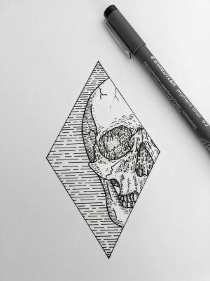 skull drawing drawings sketches tattoo diamond inspiration