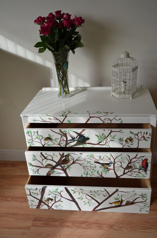 Up cycled Chest of Drawers Shabby Chic Hand painted Furniture Bespoke Unique Freehand Tree