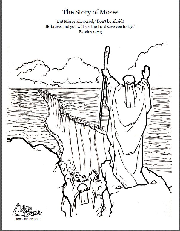Story of Moses. Coloring page, script and Bible story