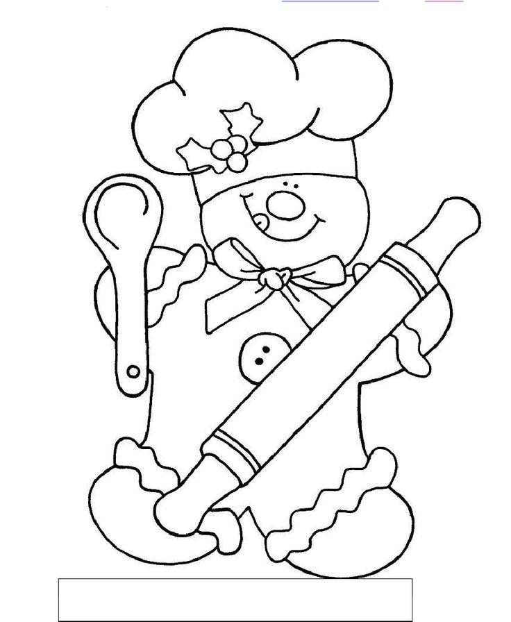 gingerbread chef colorsum  coloring pages  pinterest