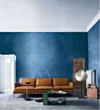 blue walls + caramel leather | interiors | Pinterest ...