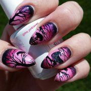 pink raven nails nail art hand
