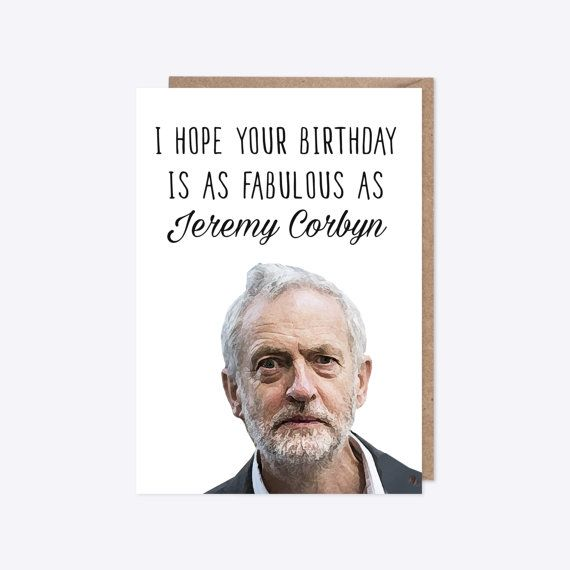 Birthday Card Watercolour Jeremy Corbyn Labour Party