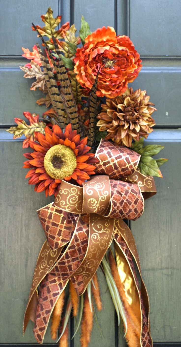 Fall Wreath Autumn Wreath Sunflower Swag Bouquet with Pheasant Feathers  Feathers Fall