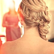 side french braid with curls updo