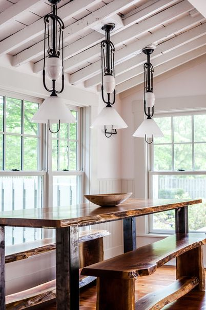 rustic pendant lighting kitchen center islands farmhouse dining room with long wooden table and benches ...