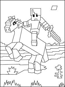 Horse and rider, Minecraft and Coloring pages on Pinterest