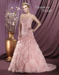 Beautiful Rose colored wedding dress by Symphony Bridals