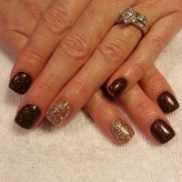 Brown and gold glitter gel nails | Nails by...Me ...