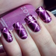 pink purple prom party nail design