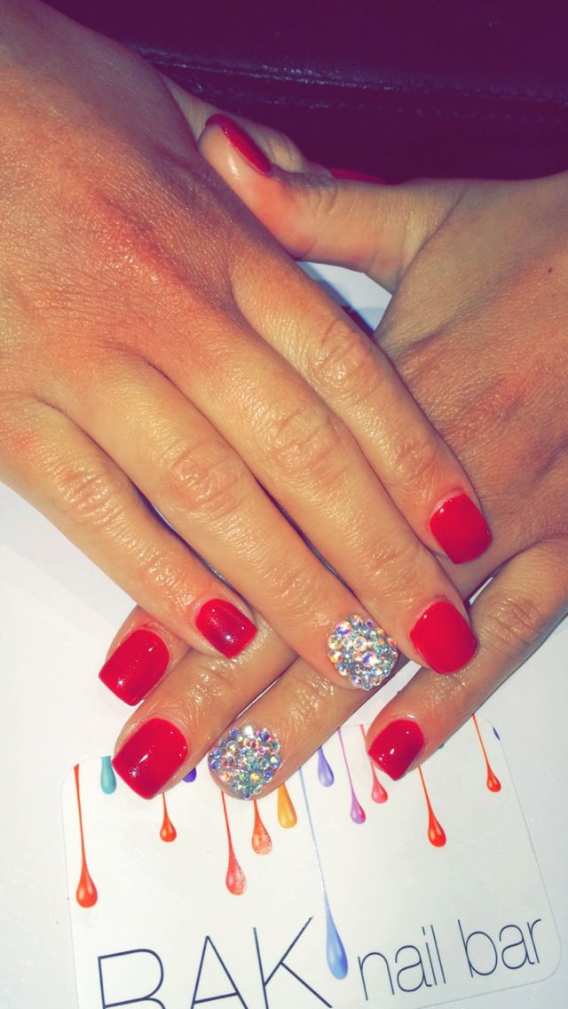 SNS Dip W Red Gel Manicure Amp Swavorski Crystals Nail