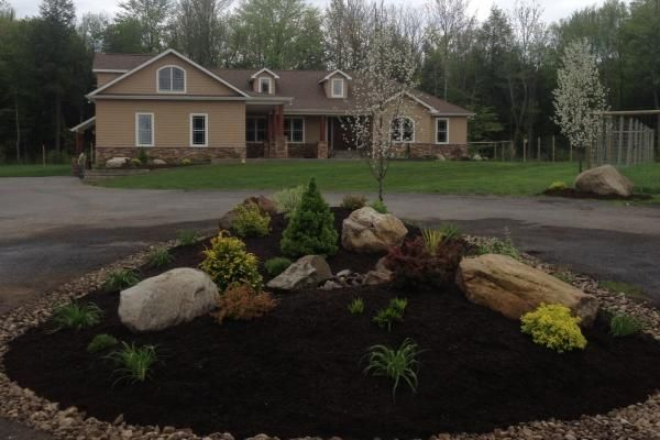 driveway island landscaping