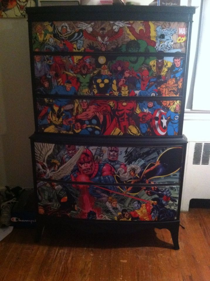 Decoupaged Superhero Dresser Painted With Black Chalk