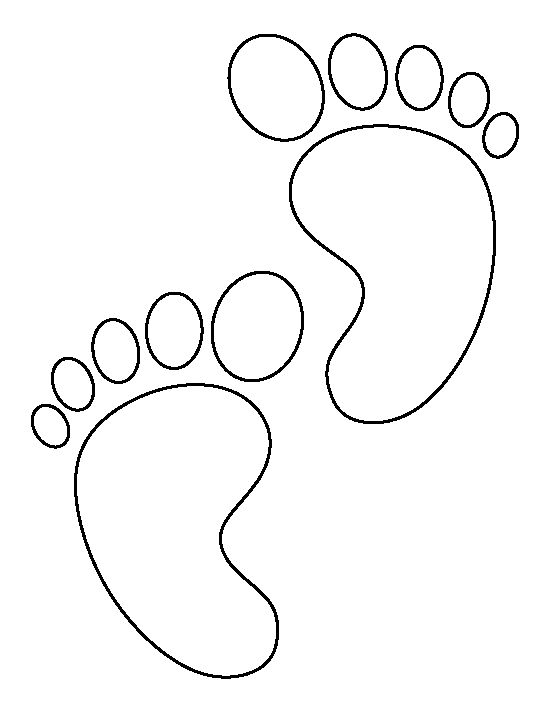 Baby feet pattern. Use the printable outline for crafts