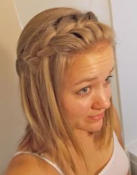 Waterfall braid for medium-length hair. Cute and easy to ...