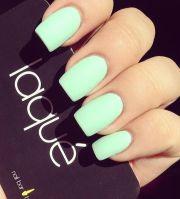 matte pastel light green nails