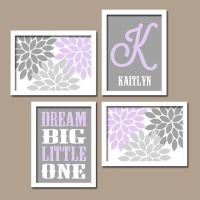 LILAC GRAY Nursery Baby GIRL Wall Art, Canvas or Prints ...