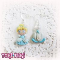 Cinderella Earrings, Polymer Clay Princess, Cinderella