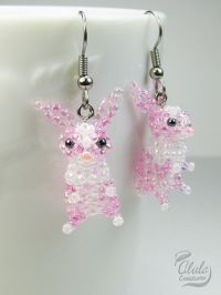 Easter Bunny Earrings, Rabbit Earrings, Beaded Rabbit ...