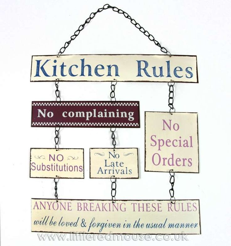 Kitchen Rules Hanging Metal Sign Wall Decor Decorative